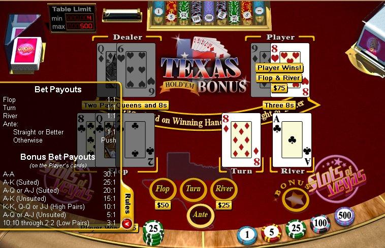 Casino game texas holdem bonus